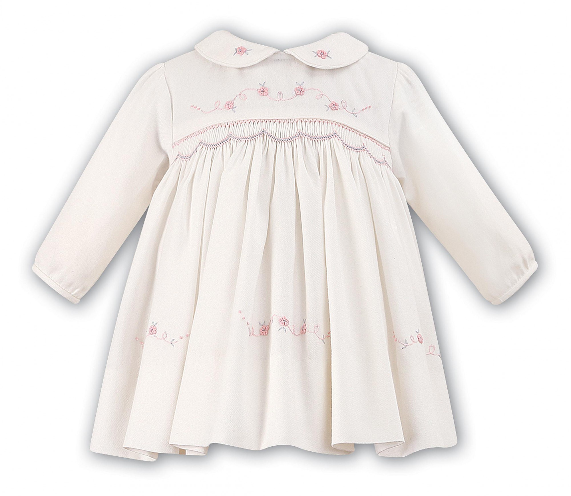 341ed35bd Sarah Louise 010477 Ivory/Pink Smocked Dress | | Olivers Childrens Wear
